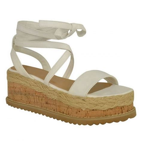 tie up wedge sandals white pu leather tie up lace wedge sandals