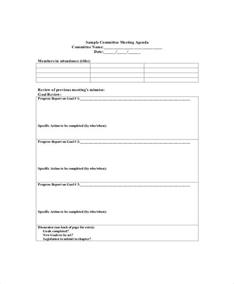 Committee Meeting Agenda Template 15 committee meeting agenda templates free sle