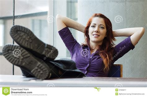 7 Foot Desk Businesswoman Smiling Feet Up Stock Image Image Of