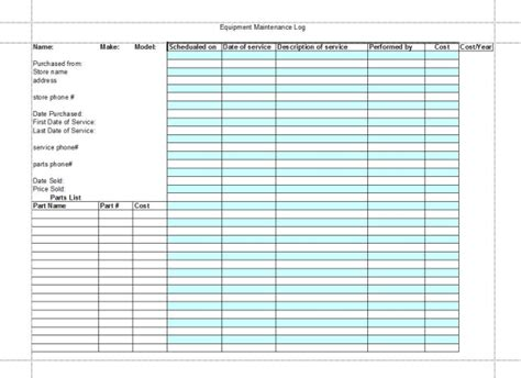 maintenance log book you can make one
