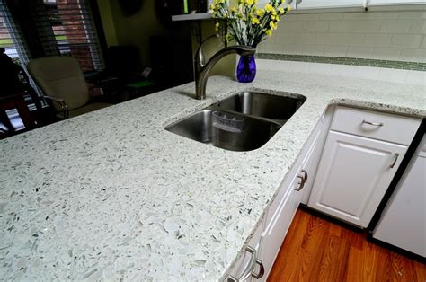 Recycled Glass Countertops For Kitchens by Vetrazzo Cubist Clear Recycled Glass Countertop By