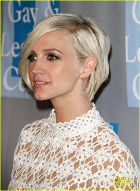 the blonde short hair woman on beverly hills housewives ashlee simpson is sixties chic at the l a gay lesbian