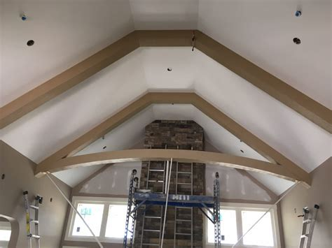 cathedral ceiling beams cathedral ceiling trusses with a curve faux wood workshop