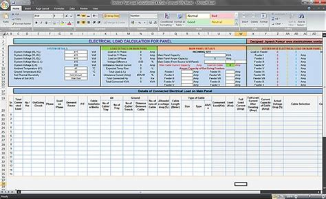 Electrical Engineering Excel Spreadsheets by Calculate Electrical Load Of Panelboard Excel Spreadsheet