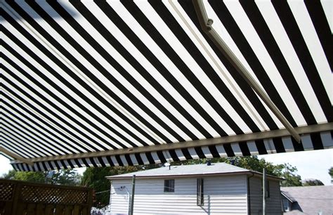 awning over deck residential striped awning over deck rolltec 174 retractable awnings toronto