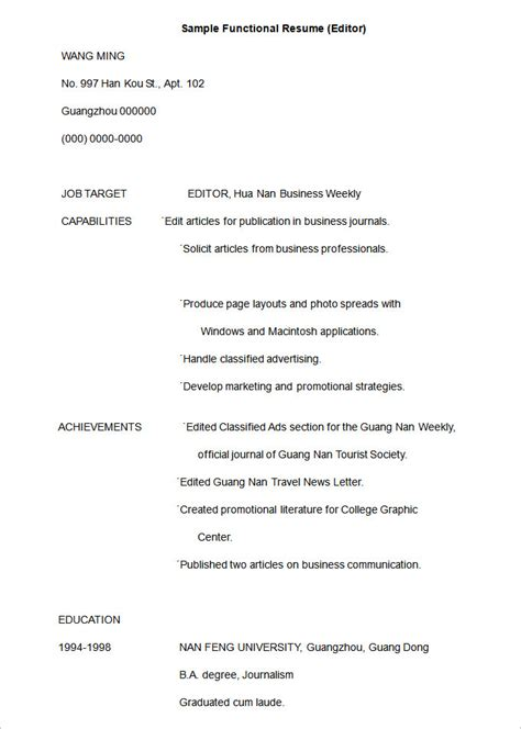 functional format resume template functional resume template 15 free sles exles
