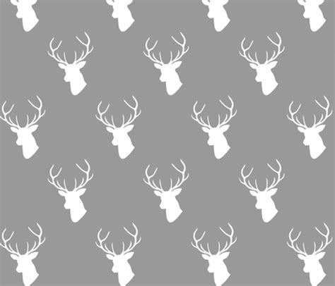 stag wallpaper grey gray white deer silhouette fabric mrshervi spoonflower