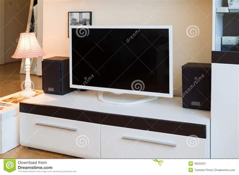 living room speakers modern living room tv and speakers stock image image