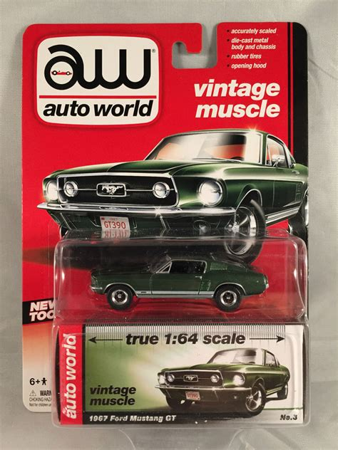 auto world vintage 1967 ford mustang gt olive green 1 64 release 1 ebay