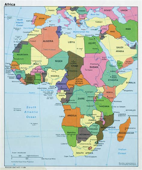 large political map  africa  capitals