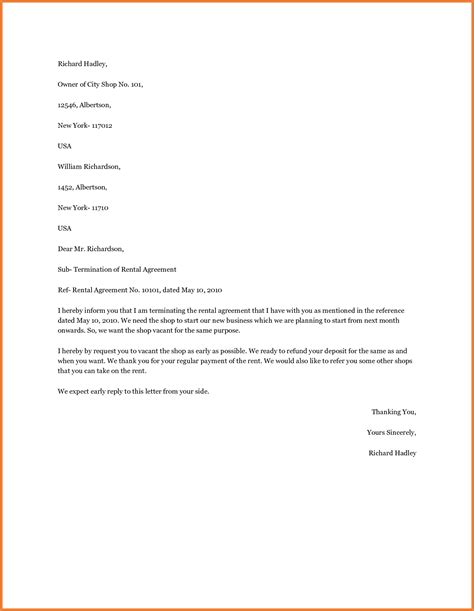 Sle Letter Of Agreement Between Landlord And Tenant Lease Termination Letter Sop