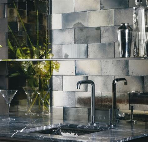mirror tile backsplash kitchen backsplash inspiration mercury glass look ann sacks mirror