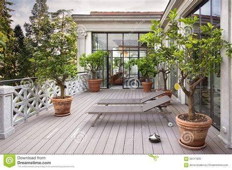 beautiful balcony beautiful balcony with sunbeds and plants with beautiful view of stock photo image 56111830