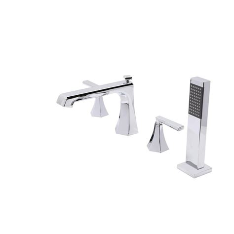 deck mount bathtub faucet with sprayer anzzi shine series 2 handle deck mount roman tub faucet