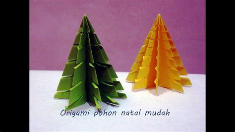 membuat pohon natal origami tutorial cara melipat origami pohon natal mudah youtube