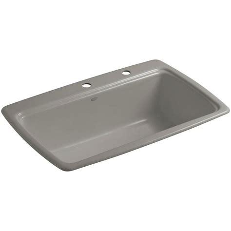 Kohler Cape Dory Drop In Cast Iron 33 In 2 Hole Single Cast Iron Single Bowl Kitchen Sink