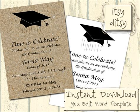 graduation invitation templates microsoft word graduation invitation template with a mortarboard design