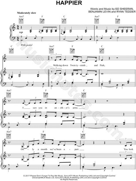 ed sheeran chords happier ed sheeran quot happier quot sheet music in c major download
