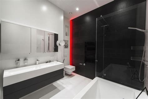 bathroom red light neon lights add color and uniqueness to a moscow apartment