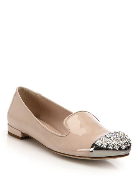 miu miu loafers miu miu patent leather swarovski cap toe loafers