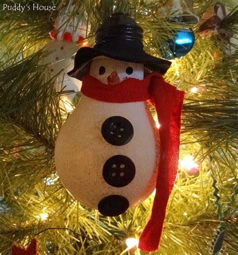 diy christmas ornaments lightbulb snowman puddy s house