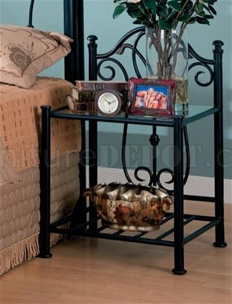 black finish traditional iron bed woptional nightstands