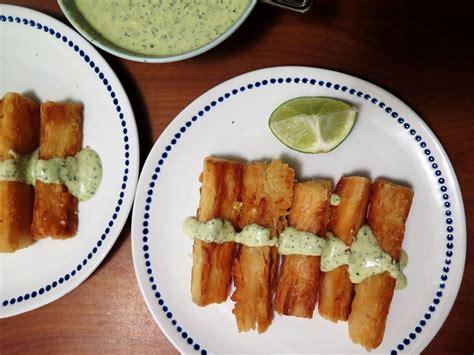 yuca frita  tangy lime cilantro sauce boricua