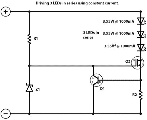 transistor mosfet led driver mosfet driving 3 leds at 1000ma is this circuit driver ok electrical engineering stack