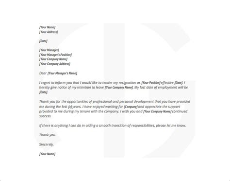 resignation letter exles free 9 simple resignation letter templates free sle