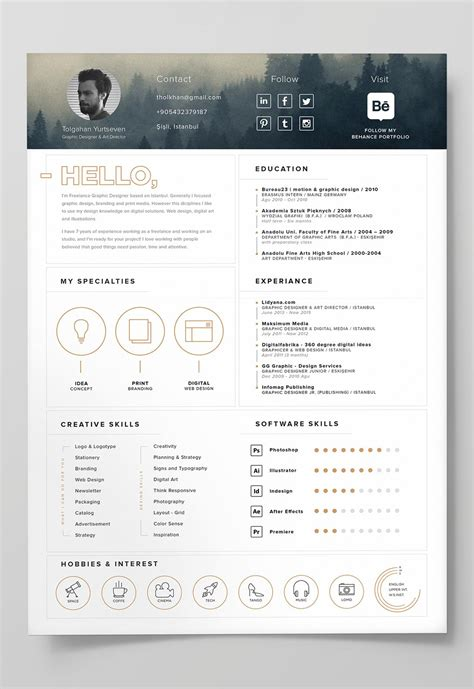 cv template ai 7 free editable minimalist resume cv in adobe illustrator