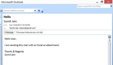 Excel Vba Send A Excel Workbook As Attachment In Mail From Ms Outlook Using Excel Email Template For Sending Attachment