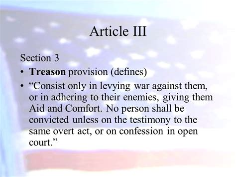 Article 3 Section 3 by Foundation Of Government And The Constitution Ppt
