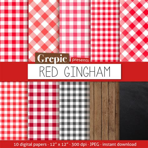 check vs plaid red gingham digital paper red gingham with picnick