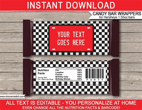 Race Car Hershey Candy Bar Wrappers Personalized Candy Bars Hershey Label Template