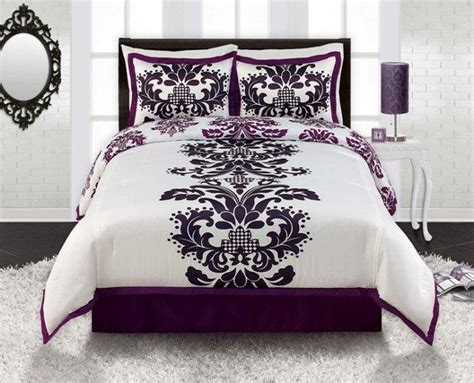 4pc viola black white purple contemporary damask comforter