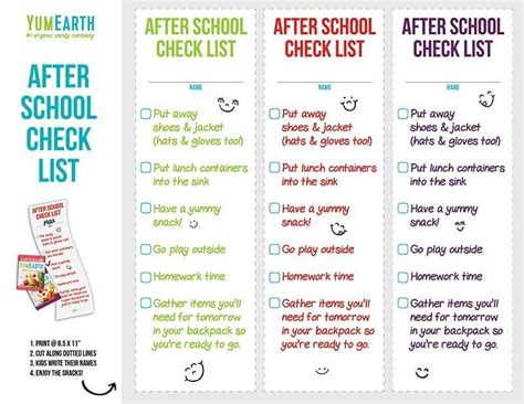 School Checklist Template by After School Checklist Template