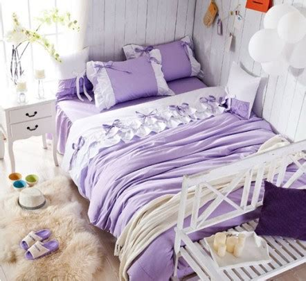 luxury purple lilac lace ruffle bedding set full queen