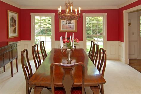 dining room wide dining space with long wooden table and