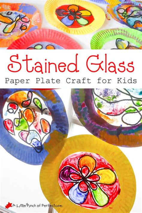 Stained Glass Paper Craft - stained glass paper plate craft for a pinch