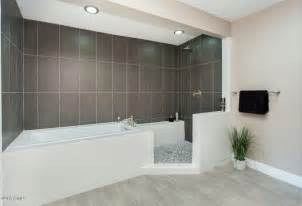 Modern Bath Shower contemporary master bathroom with drop in bathtub amp specialty tile