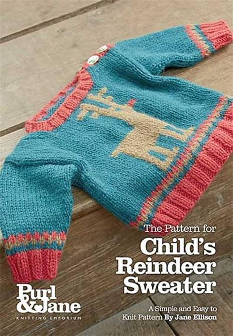 reindeer sweater knitting pattern child s reindeer sweater knitting pattern by ellison