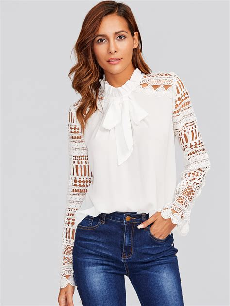 30029 White Tie Blous geo lace sleeve frilled tie neck blouse makemechic