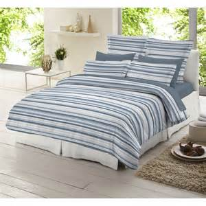 Blue And White Bed Covers Dormisette Blue And White Striped 100 Brushed Cotton