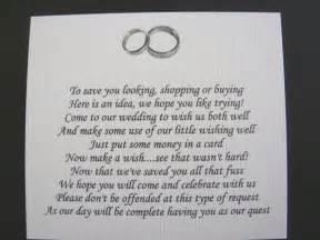 wedding gifts asking for money poems 20 wedding poems asking for money gifts not presents ref no 8 ebay