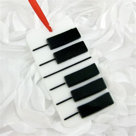 glass piano christmas ornament fused piano key ornament
