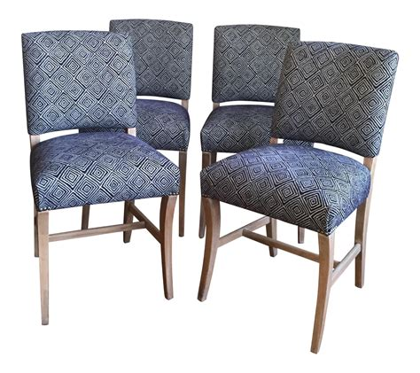 Blue Wood Dining Chairs Light Wood Upholstered Blue Geometric Dining Chairs Set