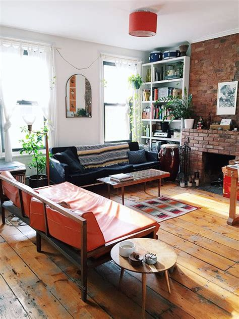 living room in brooklyn fireplaces boho and exposed brick on pinterest
