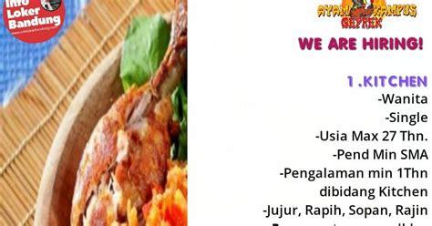 lowongan kerja ayam geprek kampus indonesia bandung maret