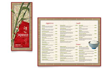 togo menu templates japanese restaurant take out brochure template word