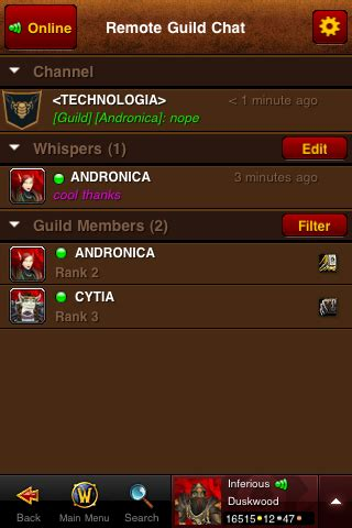 wow mobile app world of warcraft mobile armory app s remote guild chat